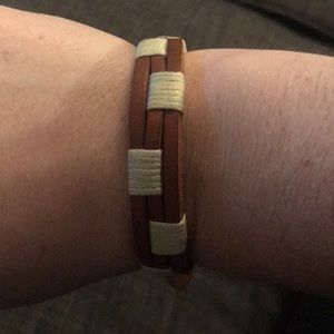 Fossil Accessories - Fossil brown genuine leather bracelet